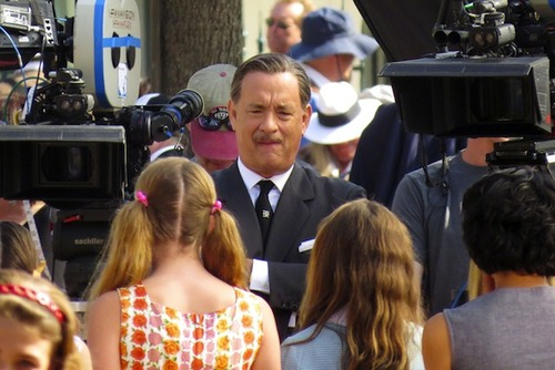 **EXCLUSIVE** FIRST PHOTOS: Tom Hanks steps into the shoes of Disney creator Walt Disney as he films on location for 'Saving Mr Banks'
