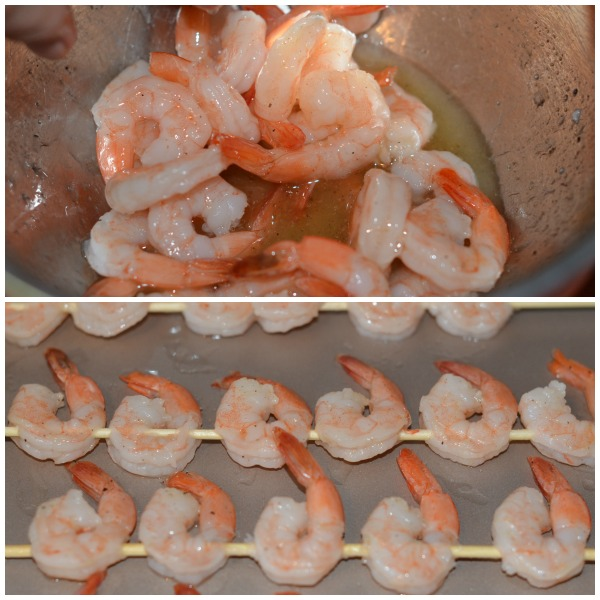 Shrimp marinating and on skewer