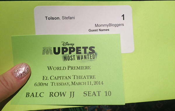 Muppets Most Wanted El Capitan Ticket - #MuppetsMostWantedEvent
