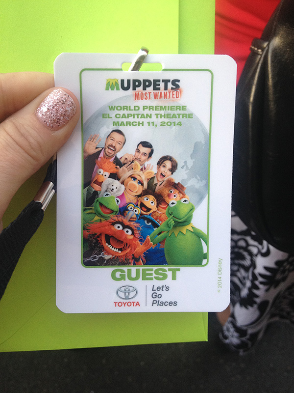 Muppets Most Wanted Red Carpet Premiere Badge