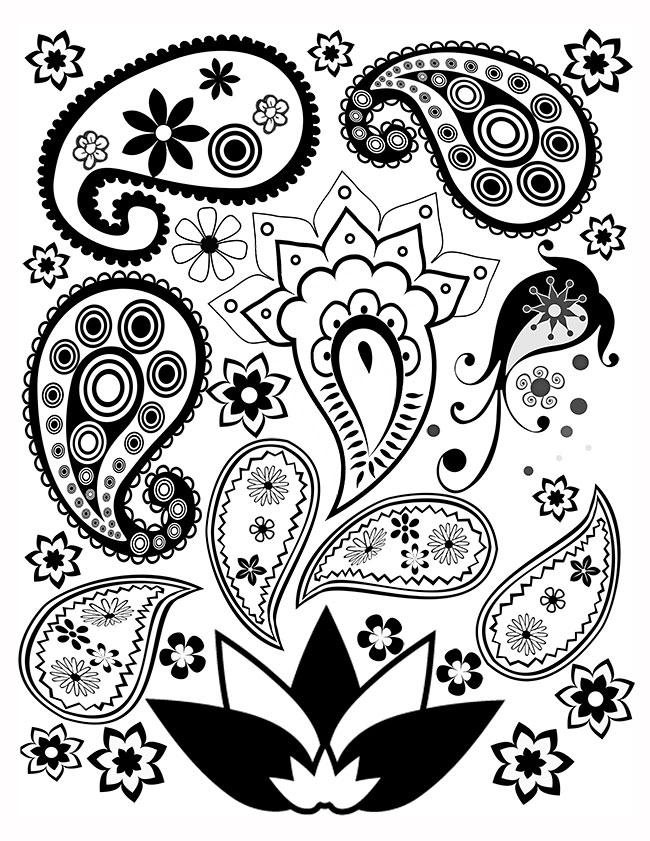 free paisley adult coloring pages - photo#2