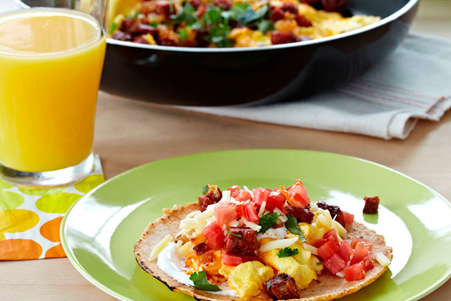 Chorizo Scrambled Egg Breakfast Taco - Mom's Blog