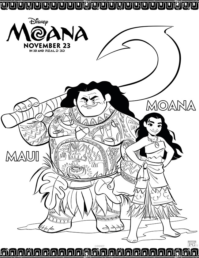 Moana Coloring Page - Moana and Maui