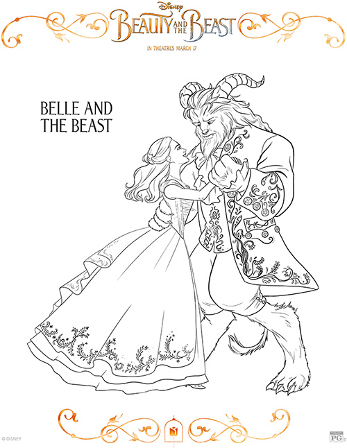 printable belle and the beast coloring page
