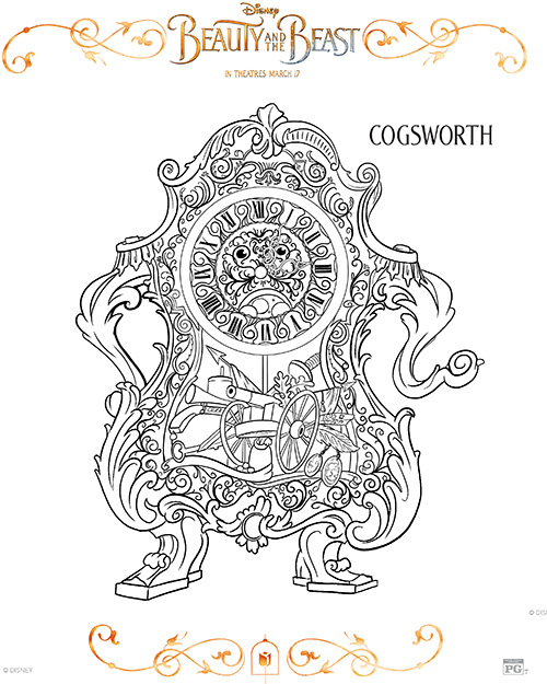 Printable Cogsworth Coloring Page