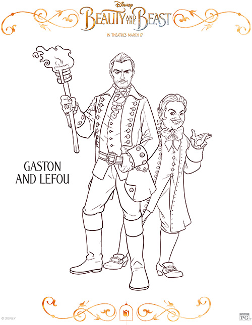Printable Gaston & Le Fou Coloring Page