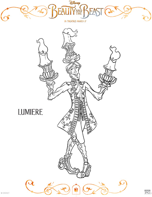 Printable Lumiere Coloring Page