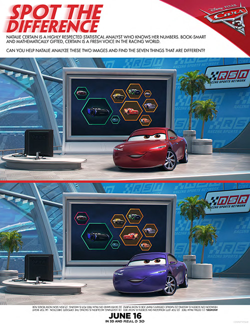 Free Cars 3 Spot The Difference Printable