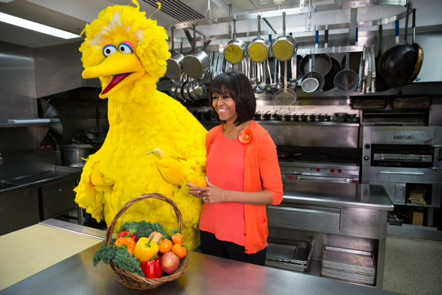 Big Bird and First Lady Michelle Obama