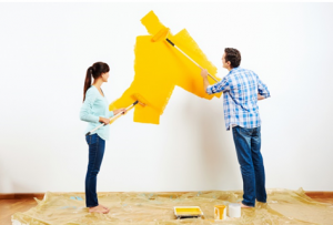 painting the walls yellow