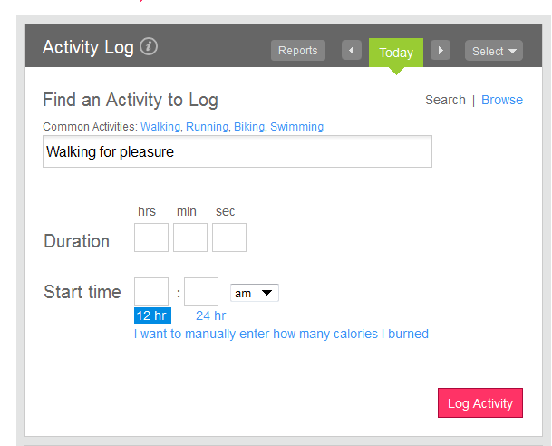 Fitbit Activity Log Screenshot