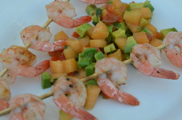 Grilled shrimp with cantaloupe salsa