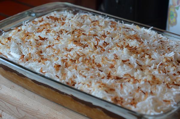 Coconut & Fudge Poke Cake #SilkAlmondBlends