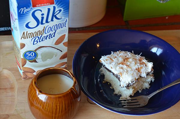 Silk AlmondCoconutBlend and Coconut & Fudge Poke Cake