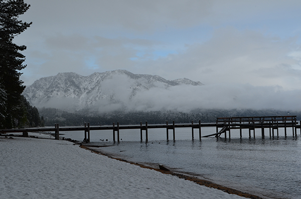 Snowing on the dock at Camp Richardson - South Lake Tahoe
