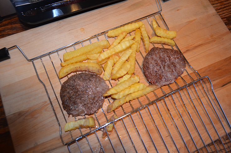 Burgers and fries in Ronco Ready Grill
