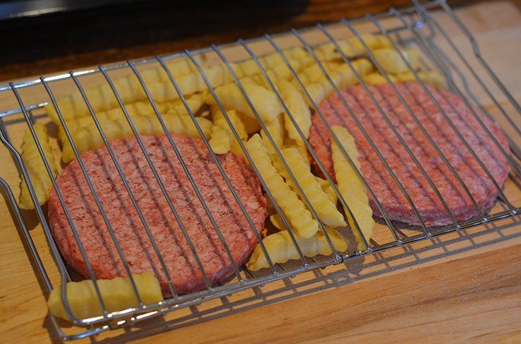 Frozen Burger and Fries in Ronco Ready Grill