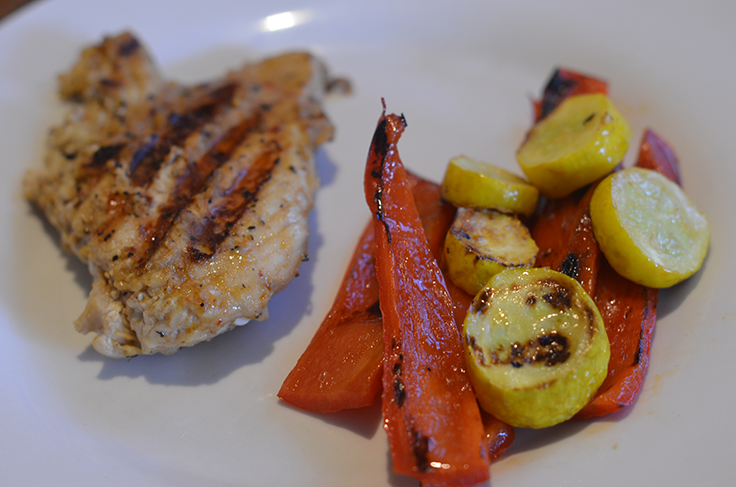 Grilled bell peppers, grilled squash, chicken