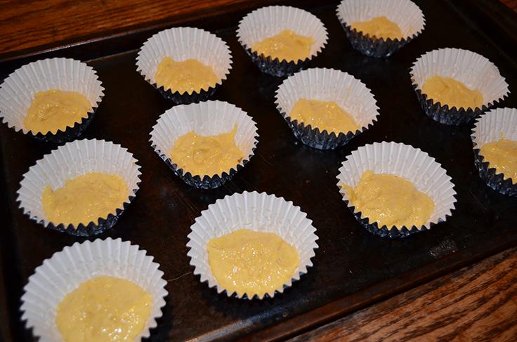 Cornbread mix in muffin tins