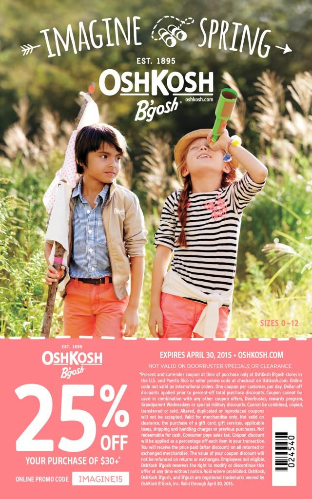 OshKosh Printable Coupon - Save 25% off