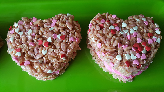 Valentine's Day Rice Krispies Hearts Sandwich