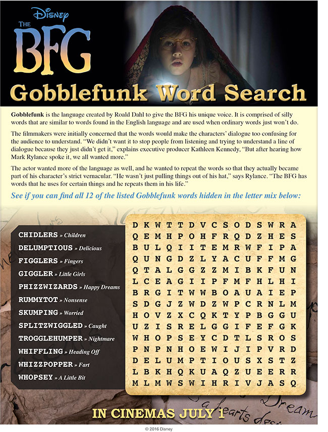 The BFG Gobblefunk Word Search