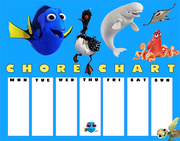FREE Printable Finding Dory Chore Charts