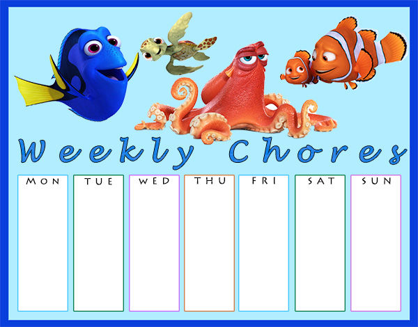 Printable Finding Dory Chore Charts