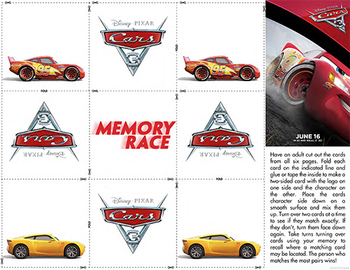 Free Cars 3 Printable Memory Game