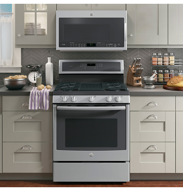 GE - Profile Series 5.6 Cu. Ft. Self-Cleaning Freestanding Gas Convection Range