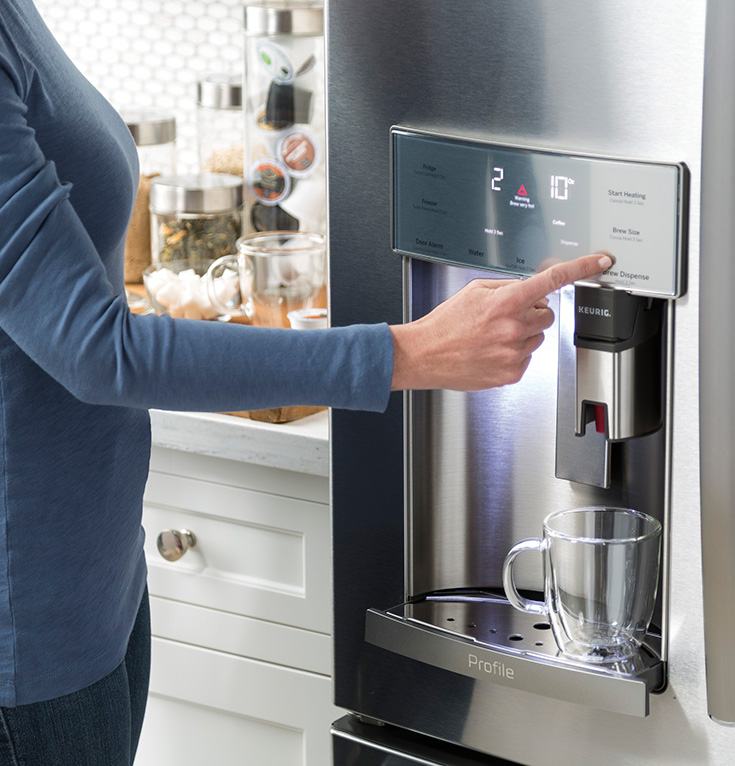 GE - Profile Series 22.2 Cu. Ft. French Door Counter-Depth Refrigerator with Keurig Brewing System