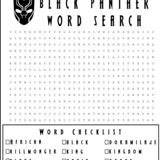 Free Black Panther Word Search Printable