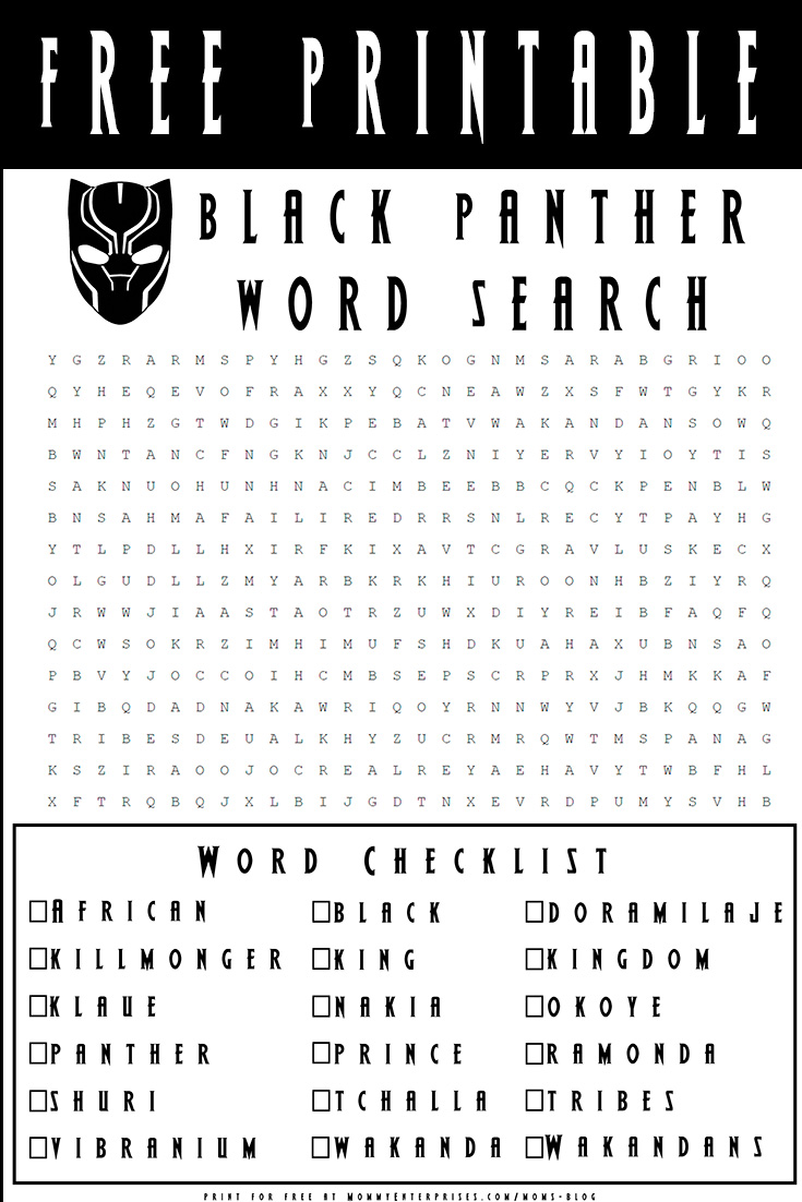 Free Black Panther Word Search Printable