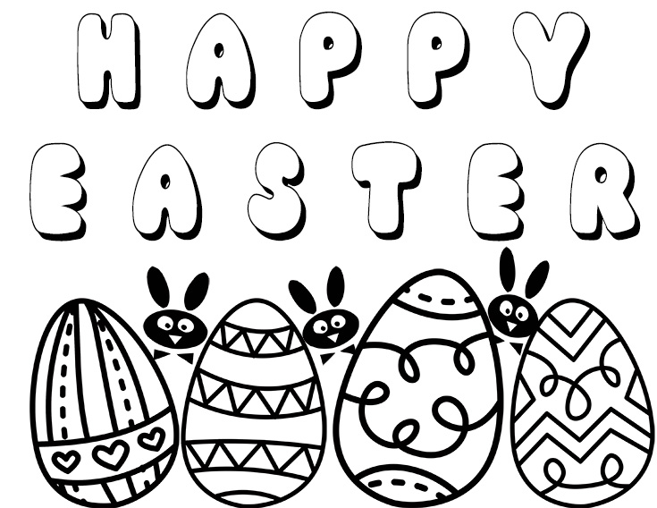 FREE Happy Easter Printable Coloring Page