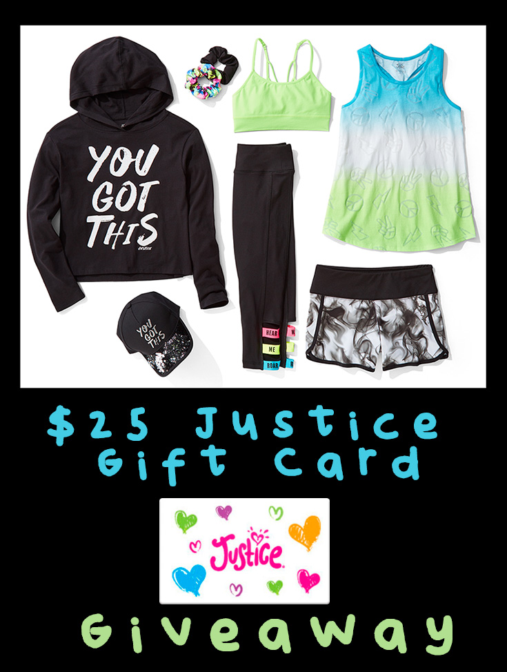 $25 Justice Gift Card Giveaway