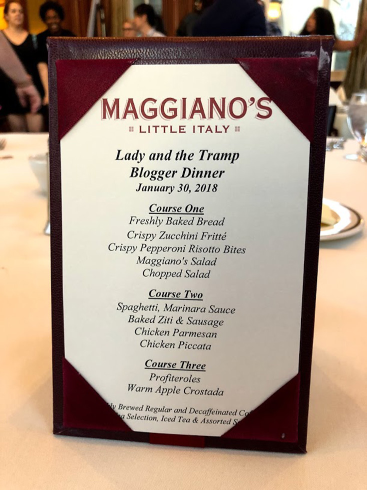 Lady And The Tramp Blogger Dinner at Maggiano's