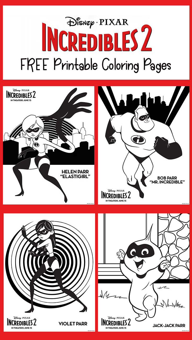 FREE Incredibles 2 Printable Coloring Pages