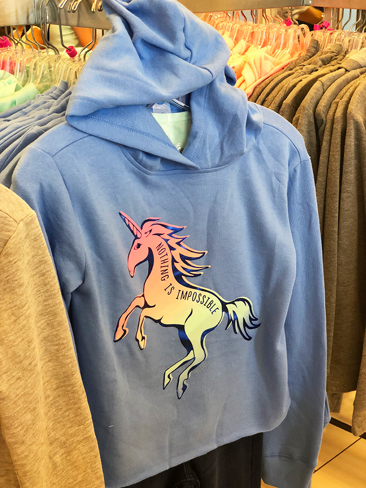 Justice nothing is impossible unicorn cutoff hoodie