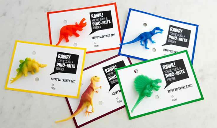 Free Dinosaurs Printable Valentine's Day Cards