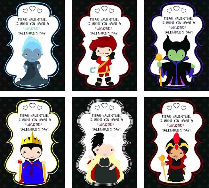 Free Printable Disney Villains Valentine's Day Cards