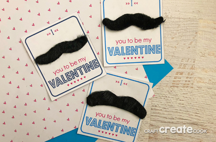 Free Printable Moustache Valentine's Day Cards
