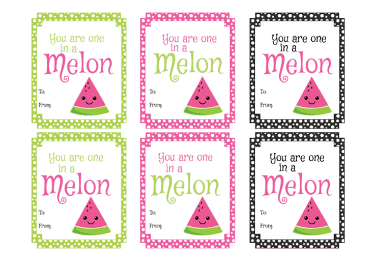 Free Watermelon Printable Valentine's Day Cards