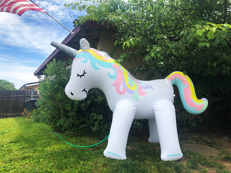 Ginormous unicorn sprinkler