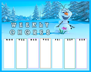 Frozen Printable Chore Chart Template