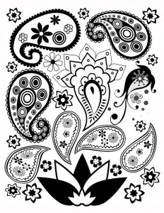Free Paisley Coloring Page 1