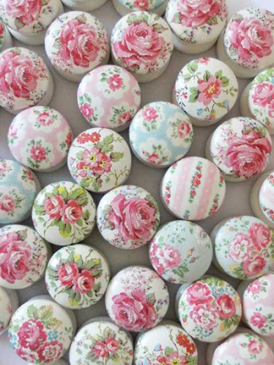 Drawer Knobs Covered In Fabric
